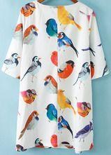 Белая половина рукава птиц шаблон Случайные Сыпучие платье
