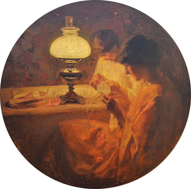 Ipolit Strămbulescu (Strămbu) (1871 - 1934) Brodeze la lumina lămpii/ Embroidered on the lamplight