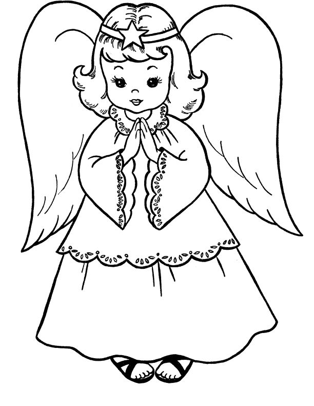 Pictures Christmas Angel Coloring For Kids Christmas