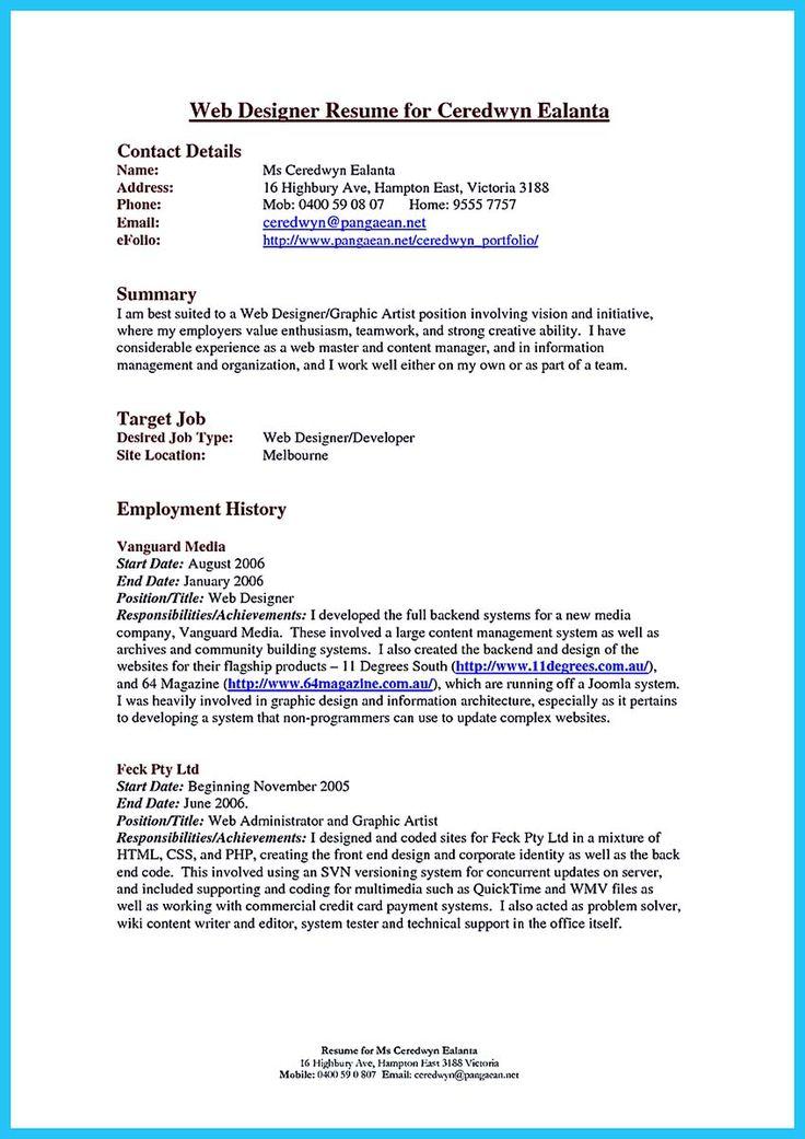 594 best Resume Samples images on Pinterest Resume templates - art resume template