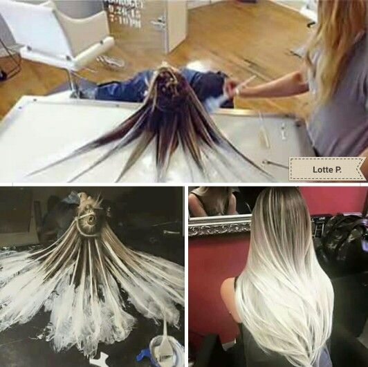 Balayage hair style. Balayage, highlight , ombre table. New style. White hair