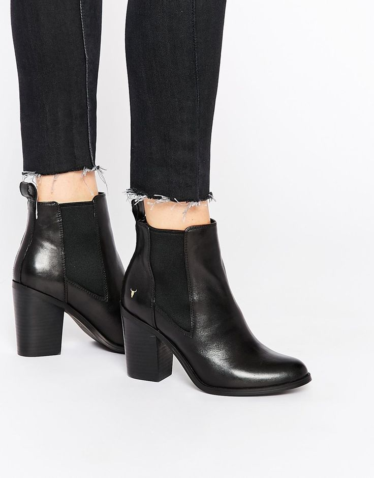 Image 1 of Windsor Smith Louie Black Leather Heeled Ankle Boots