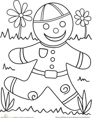 Combine this coloring page with a reading of the classic story of the gingerbread man, and you'll be all set for story time fun.