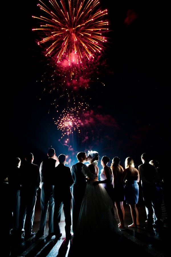 Fireworks at a wedding. Now I know this would call to the inner pyromaniac in each of the groom's party. Hmm...