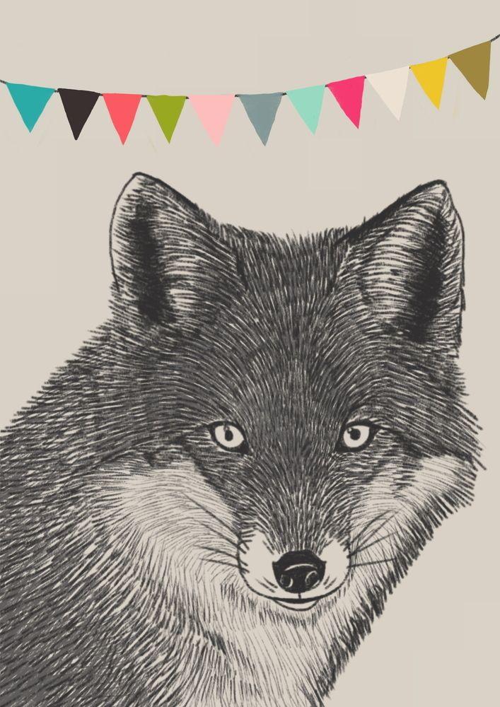 Carte postale format A6 (105x 148mm) représentant un Renard, dessiné à la mine de plomb, sur un fond gris,une guirlandes de fanions colorés. Impression quadrichrome sur un carton 300 g/m2 haut de gamme et extra-rigide, finition mat et coins arrondis.