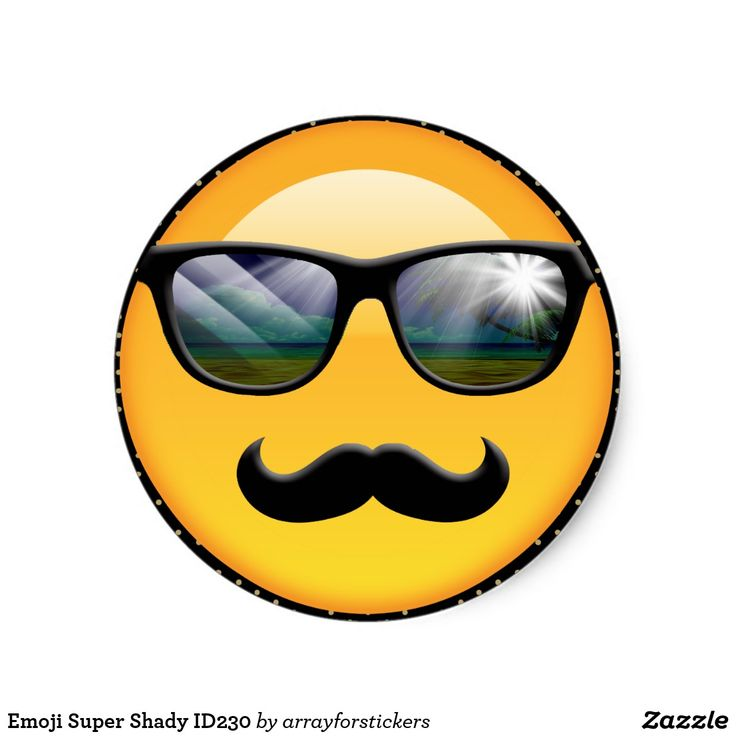 Emoji Super Shady Classic Round Sticker This sticker design features an original emoji called 'Super Shady' who is wearing bright, reflective sunglasses and a big black 'stache. Maybe he's a detective or an undercover agent but he's definitely hiding something. If you look closely, you'll see the beach and a palm tree reflected in his shades. Search ID230 to see other products with this design.