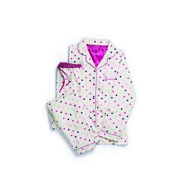 Shelley: Multi-spot Fleece Button Through PJs