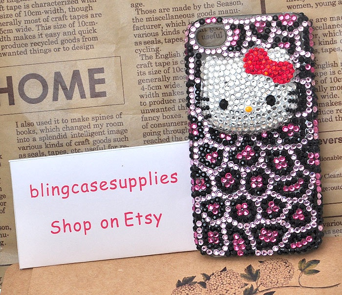 hello kitty  Leopard  crystal rhinetones hand made cell phone case for iphone 4s  bling cover for iphone 5. $33.00, via Etsy.