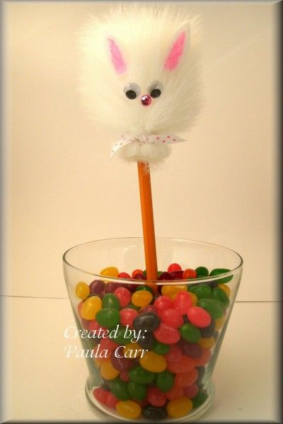 We're creating silly pencil toppers using fake fur. Glue the fur onto the pencil and then glue on his cute...