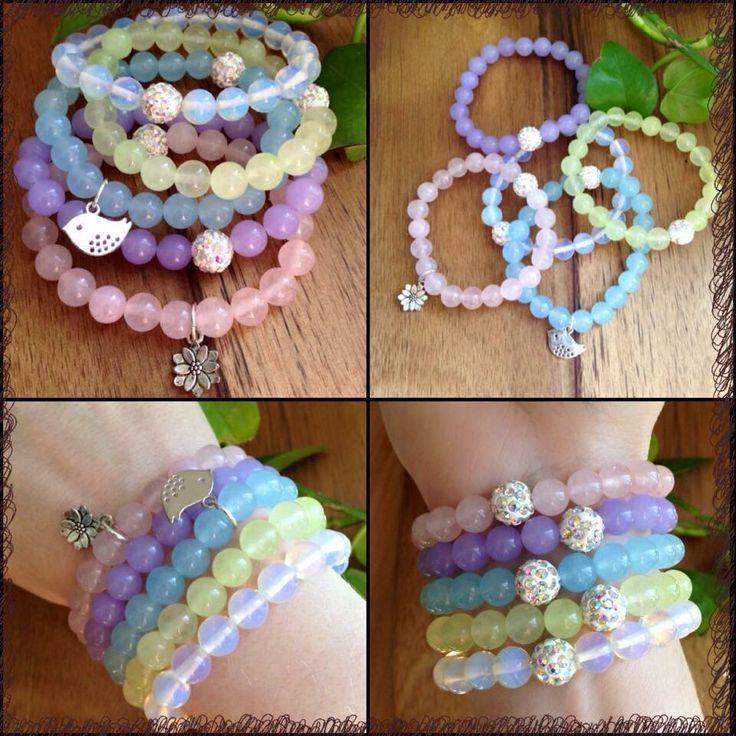ITEM: Spring Stack (x5 bracelets) STONES: Rose Quartz, Alexandrite, Aquamarine, Prehnite and Moonstone 8mm beads SIZE: Medium  https://m.facebook.com/JediJewellery/