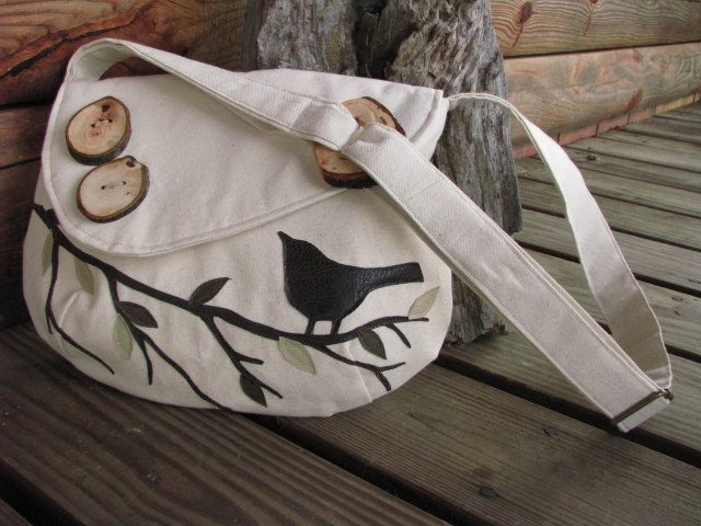 Singing Bird on a Branch in off white Water Repellent canvas with adjustable strap. $65.00, via Etsy.: Gift Ideas, Repellent Canvas, White Water, Water Repellent