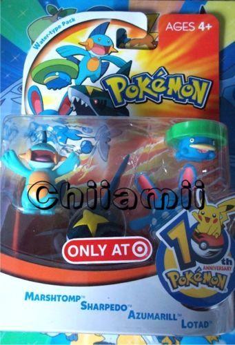 Pokemon-MARSHTOMP-Sharpedo-AZUMARILL-Lotad-Very-RARE-10th-Birthday-FIGURE-SET
