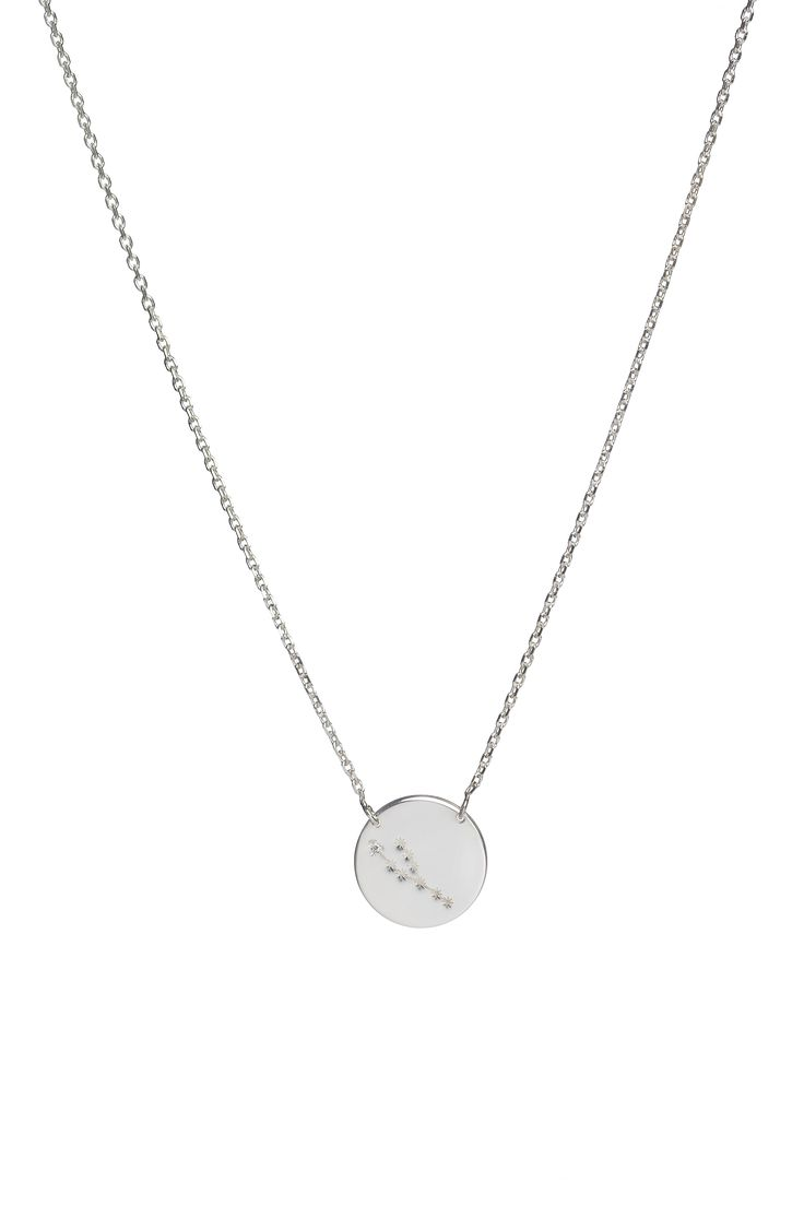 Taurus constellation necklace in 14k gold and a diamond. April 20 to May 20.  Available in white or yellow gold. Free personalized engraving on the back of the pendants. Shop the collection at www.reena.ro or order directly at reena.orders@gmail.com.