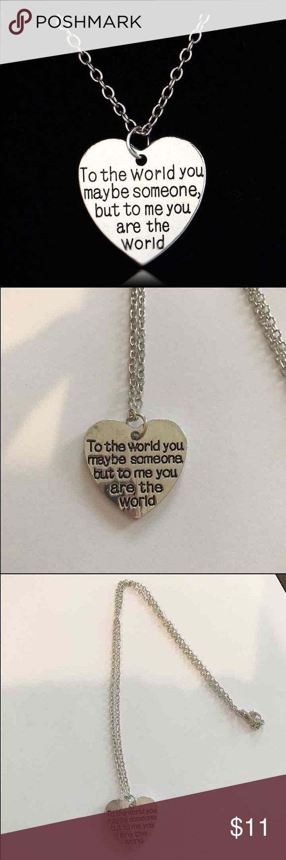 Heart ❤️ engraved necklace Super cute engraved hand stamped heart silver tone alloy necklace chain is about 20 inches long ,,,,New.   2 available Jewelry Necklaces