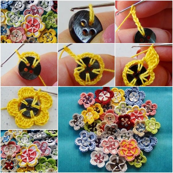 Easy Crochet Button Flowers for beginners .  Free pattern--> http://wonderfuldiy.com/wonderful-diy-easy-crochet-button-flowers/
