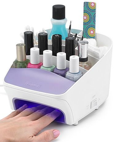 Keep all of your nail care supplies neatly stored and organized in one convenient location with this Polder Deluxe Nail Station. It also lets you paint and dry