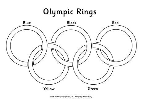 Olympic Rings coloring page... use bits of colored tissue paper to fill in the rings.