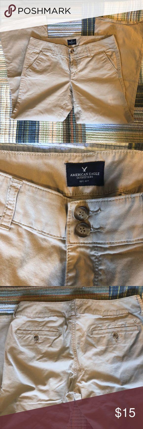 American Eagle Khaki pants Great shape! No frays...size 10, artist cut, stretch khakis. Very comfortable! American Eagle Outfitters Pants