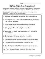 prepositions worksheet 1