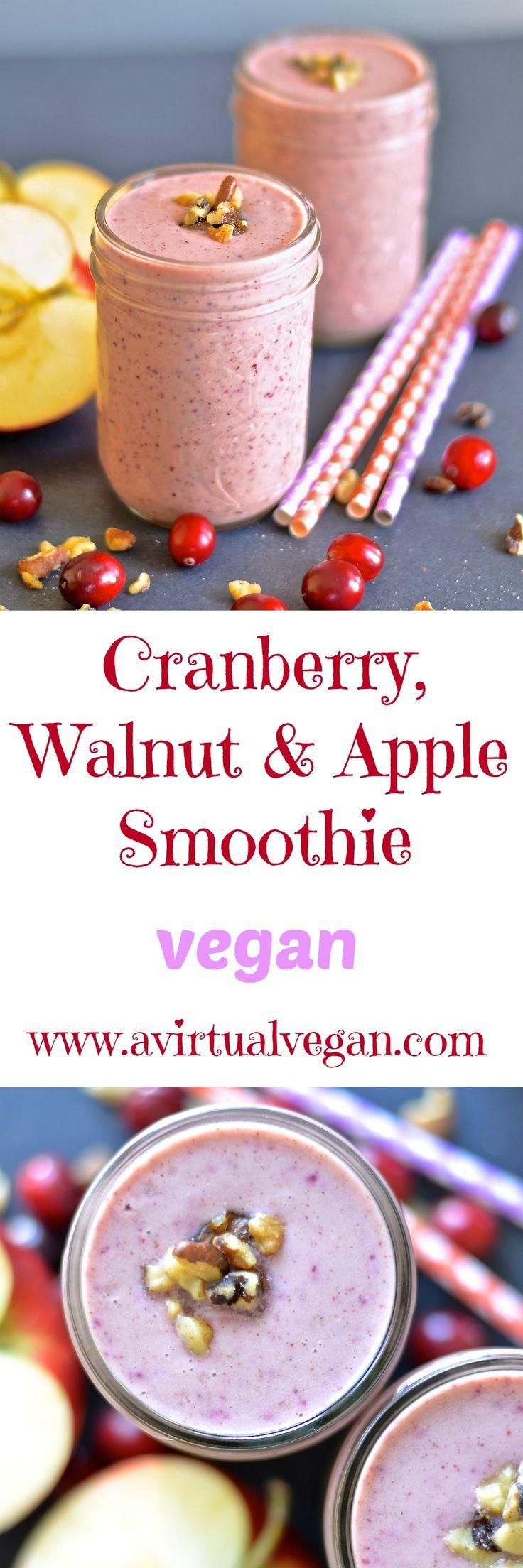 This creamy Cranberry, Walnut & Apple Smoothie is perfect for the holidays and will really hit the spot with its warm & spicy fall flavours.