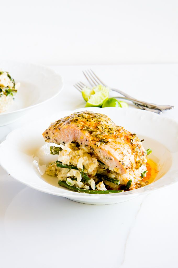 creamy coconut asparagus risotto \\ immaEATthat . Risotto made with coconut milk for the creamiest risotto ever. + Salmon