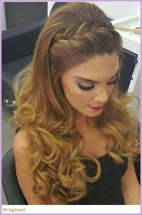 lange Haarmodelle – Zopf Frisur und schönes Make-…