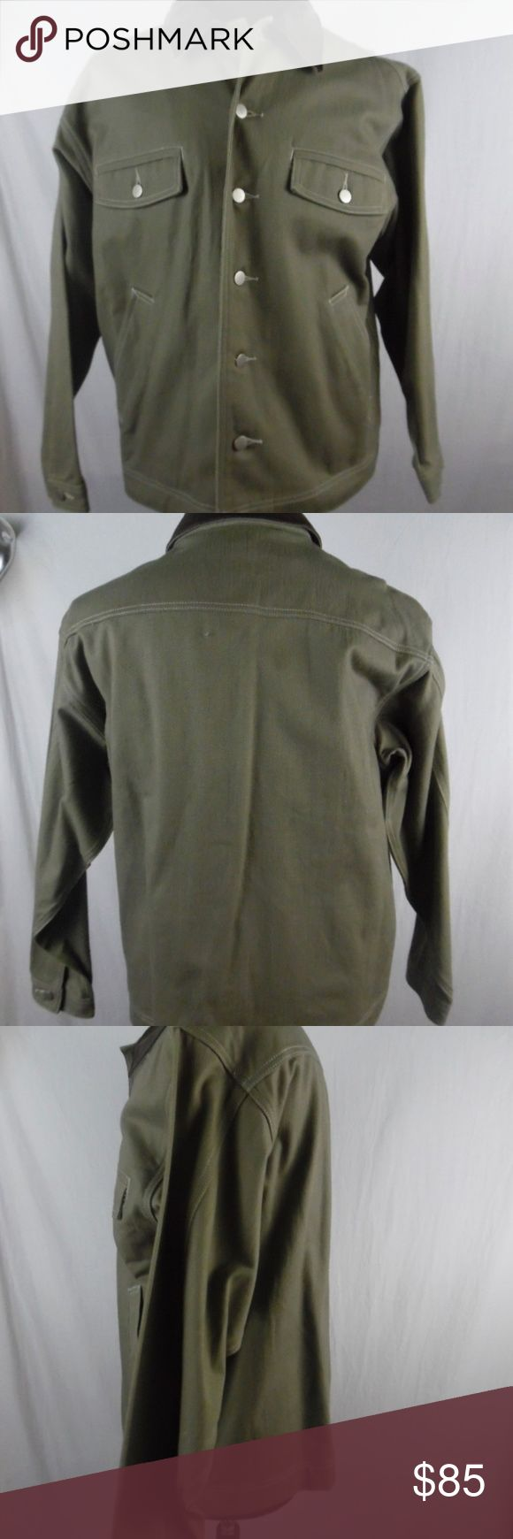 Vintage MARLBORO mens green button jean jacket M Vintage, MARLBORO GEAR 99, like new with tags still, this is a very well heavy duty made jacket, with a leather collar, with lot of pockets. 100% Cotton Color Army Green  Arm  pit to Arm pit 23 inch Sleeve 23 inch Shoulders 21 1/2 inch Length 27 1/2 inch MARLBORO Jackets & Coats Lightweight & Shirt Jackets