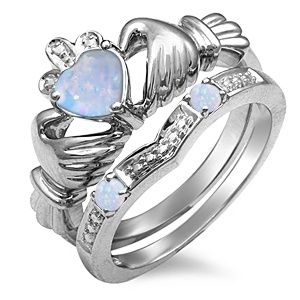 Kay - Lab-Created Opal Claddagh Ring Sterling Silver