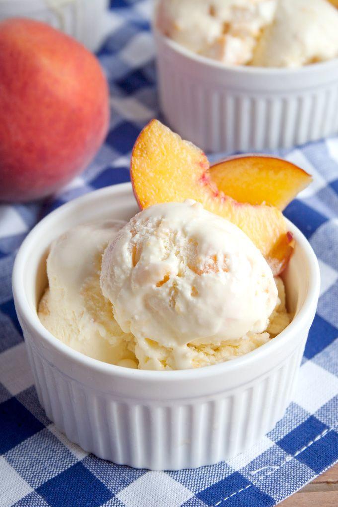 Homemade Peach Ice Cream | A Happy Food Dance #IceCream #Peaches