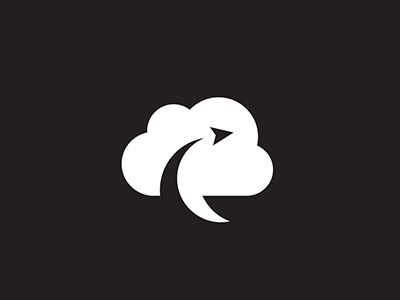 Logo Concept by Jelyn Frye  Great use of negative space. Paper airplane not only makes the cloud into a chat bubble but also adds a intriguing whimsical quality.