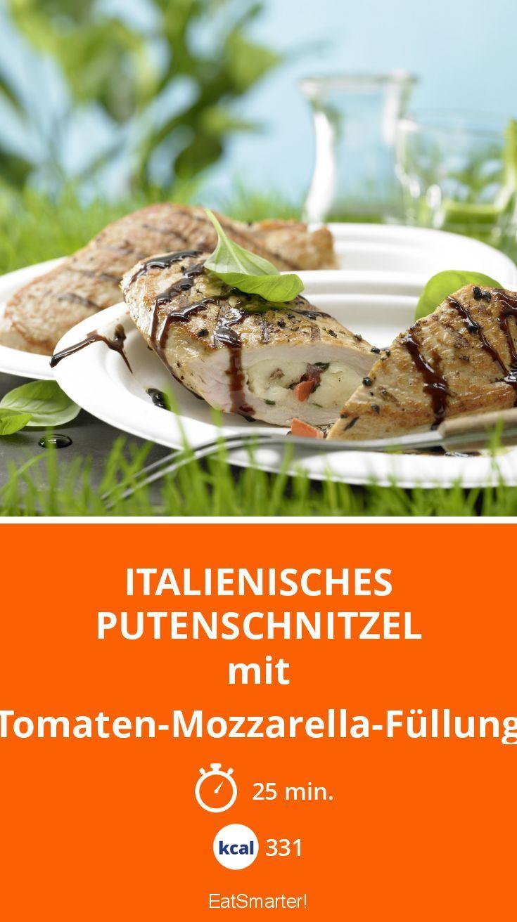Italienisches Putenschnitzel - mit Tomaten-Mozzarella-Füllung - smarter - Kalorien: 331 kcal - Zeit: 25 Min.   eatsmarter.de
