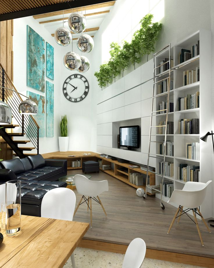 10 Stunning Living Room Designs with Modern Furniture : SpaceSaving Modern White Living Room Decor with Black LShaped Sofa and Plant Greenery