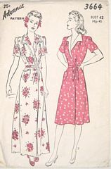 Vintage Forties Housecoat House Dress Pattern Bust 42