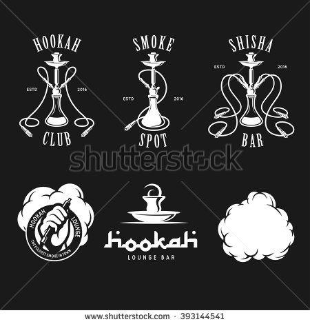 Set of hookah labels, badges and design elements. Vintage logo, emblem vector illustration. - stock vector