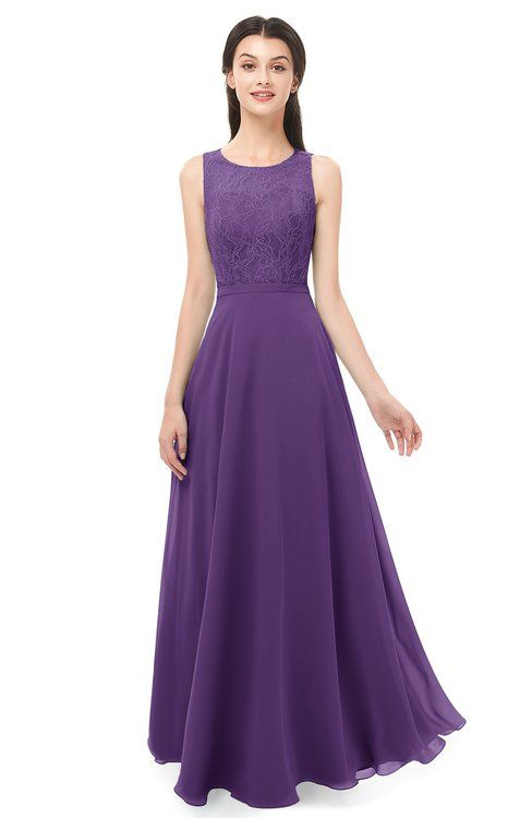 f59c2c8b895 ColsBM Indigo Dark Purple Bridesmaid Dresses Sleeveless Bateau Lace Simple  Floor Length Half Backless