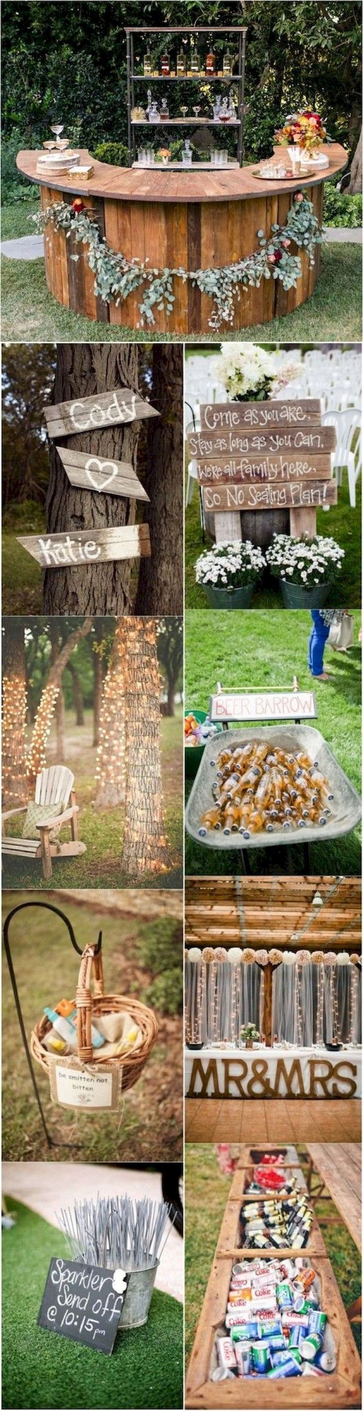 Elegant outdoor wedding decor ideas on a budget (19) #outdoorweddingdecorations #budgetwedding #budgetweddingideas