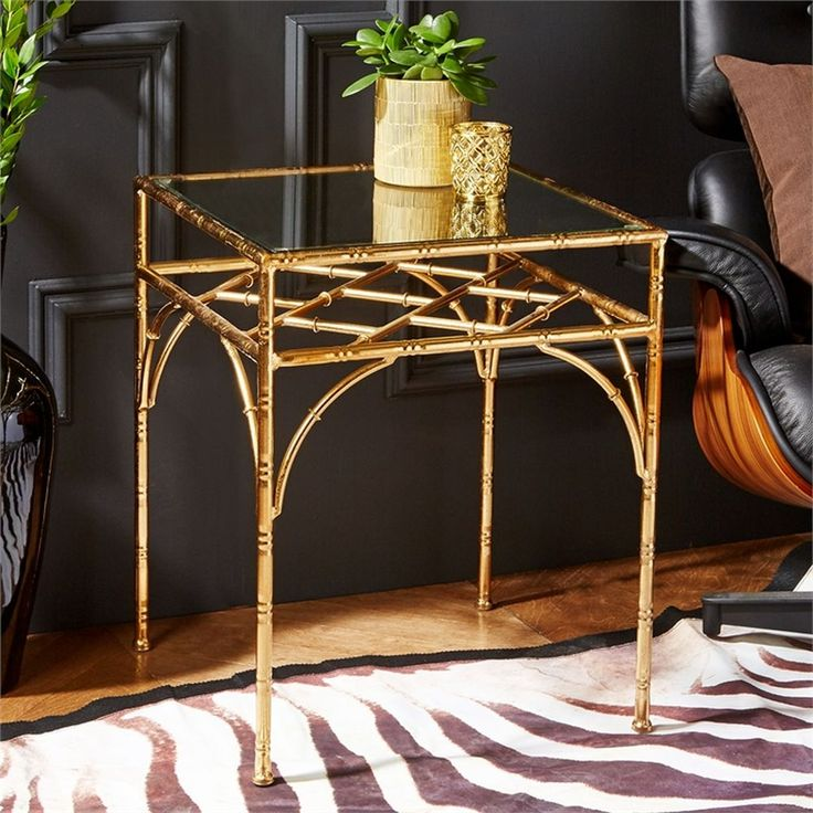 Pavilion Glass Top Gold Leaf Tables Set Of 2 By Tozai Home