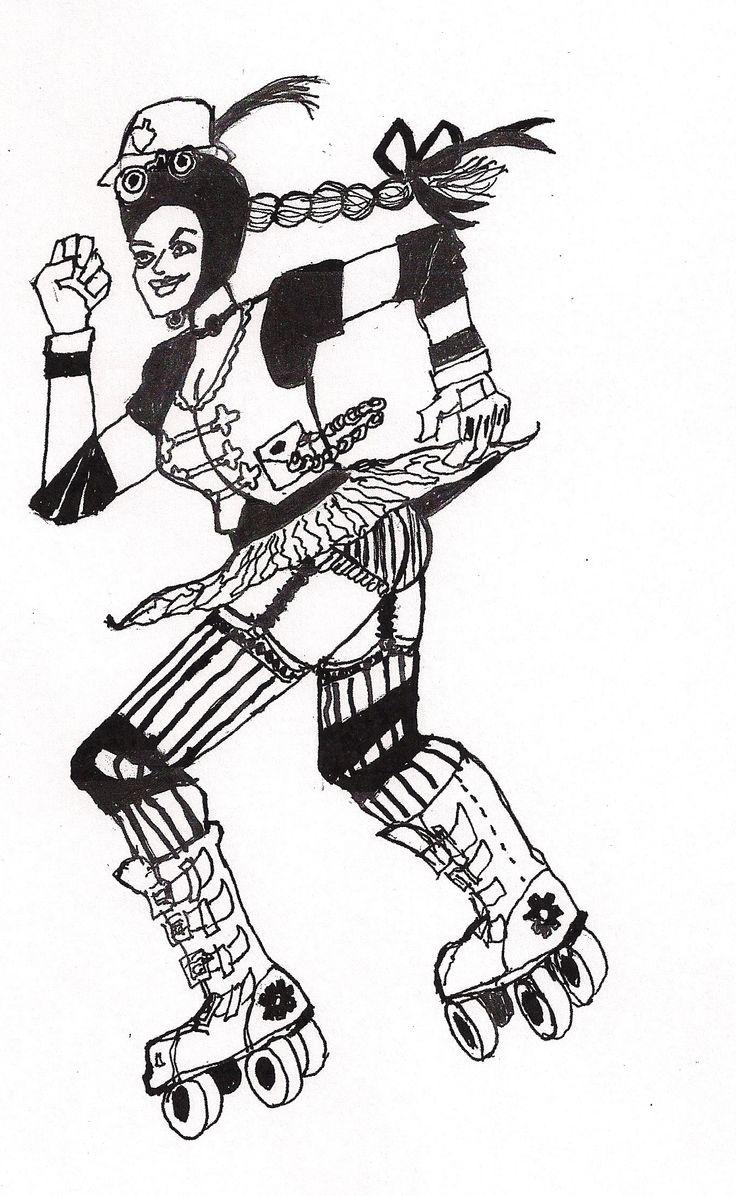 Zebra roller skates - Roller Derby Girl