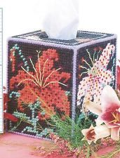 TIGER LILIES TISSUE BOX COVER PLASTIC CANVAS PATTERN INSTRUCTIONS