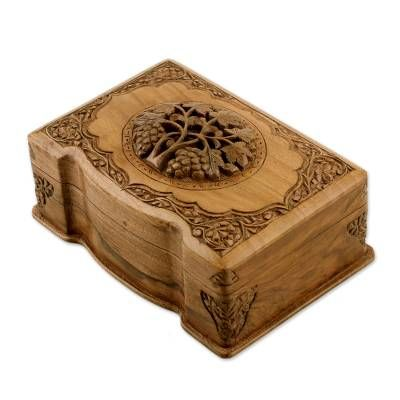 58d33f904 Walnut jewellery box, 'Vineyard' | Keepsake boxes | Box, Jewelry box ...