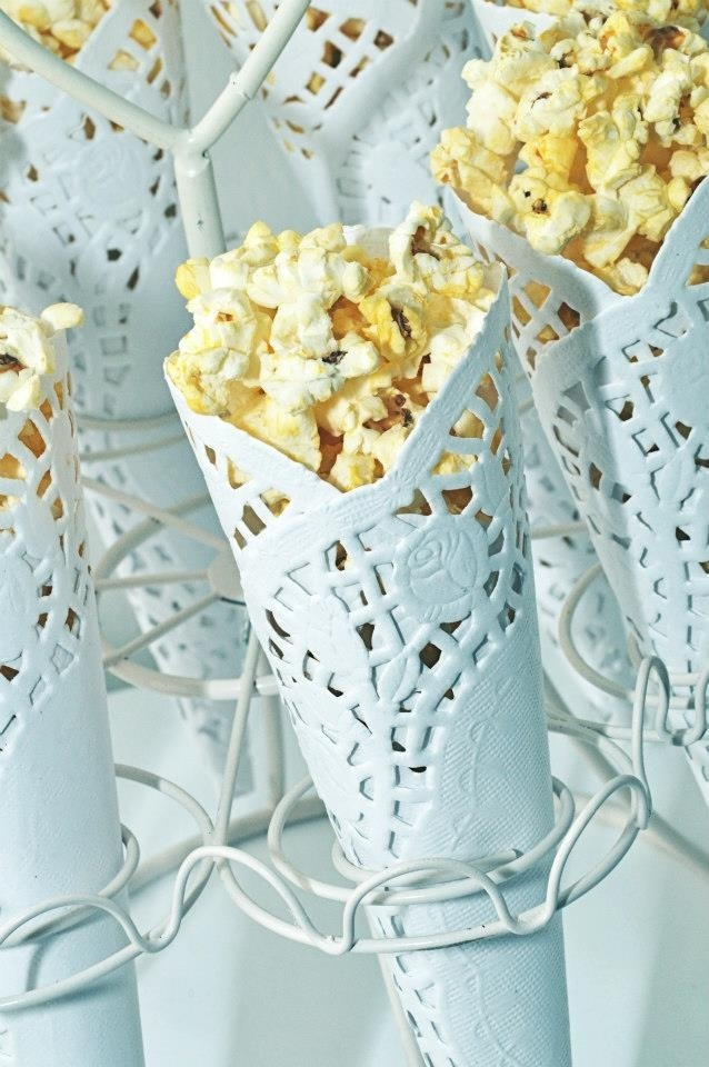 """Doily popcorn cones - from """"Lace and Pearls"""" Christening Dessert Table by Once Upon A Table Events"""