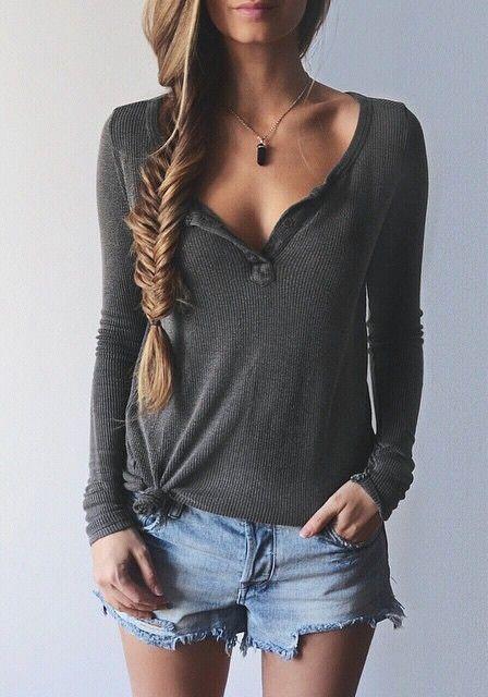 Dark Grey Long Sleeve Knit Tee
