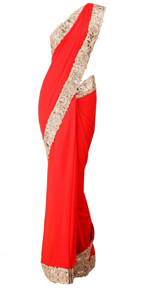 Red georgette sari with cut work zari border and golden ...