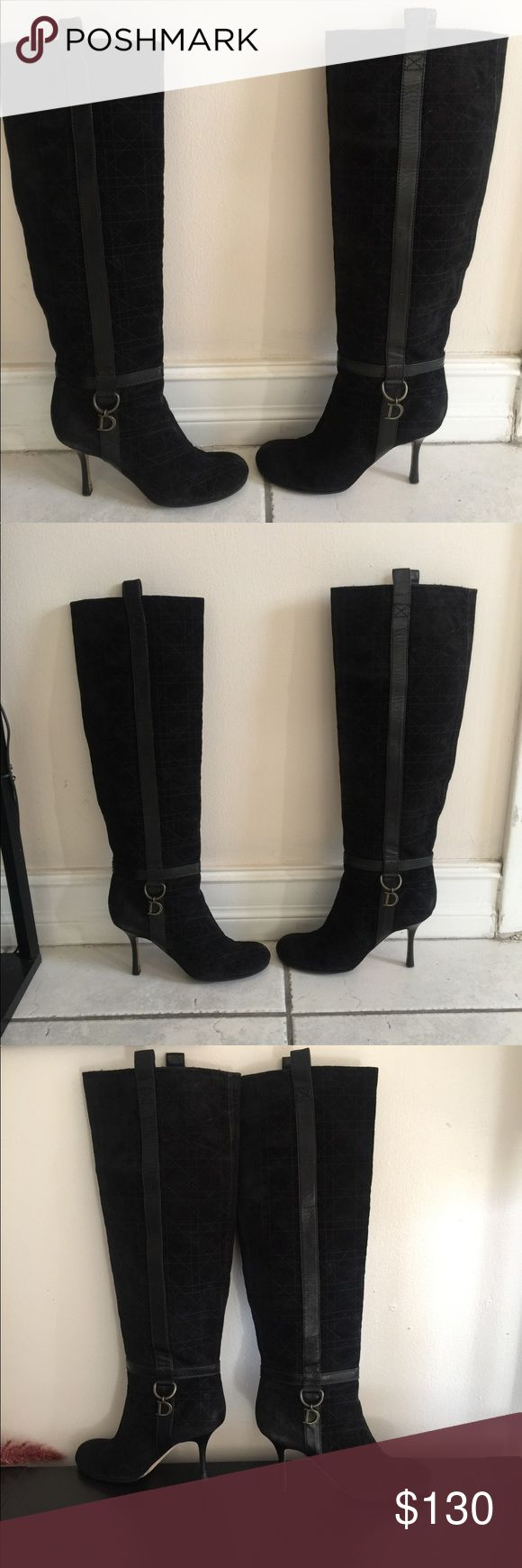 Black suede Dior boots 39 Up for sale is a pair of gorgeous black suede Dior boots in size 39, US 9. Round toe, very comfy and classy, yet sexy. Dior Shoes Over the Knee Boots