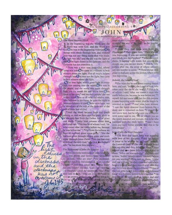 The Light Shines in the Darkness Bible by ruthonesixteen on Etsy