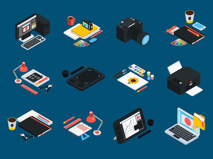 Graphic Design Isometic Icons