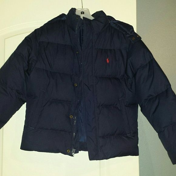 Boys Navy Blue Polo Puffer Jacket Excellent Used Condition