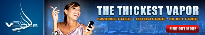 V2 Cigs - The Thickest Vapor - Smoke FREE.  Odor FREE. Guilt FREE.  Find out more!