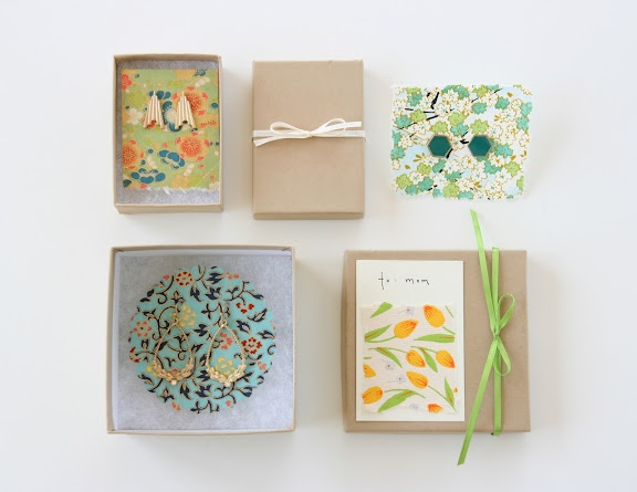 Replacing earring cards with pretty paper for gifting!