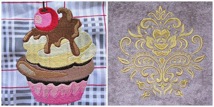 Borduur en naaimachine creaties: Borduurpatronen op badjas en een keukenschort